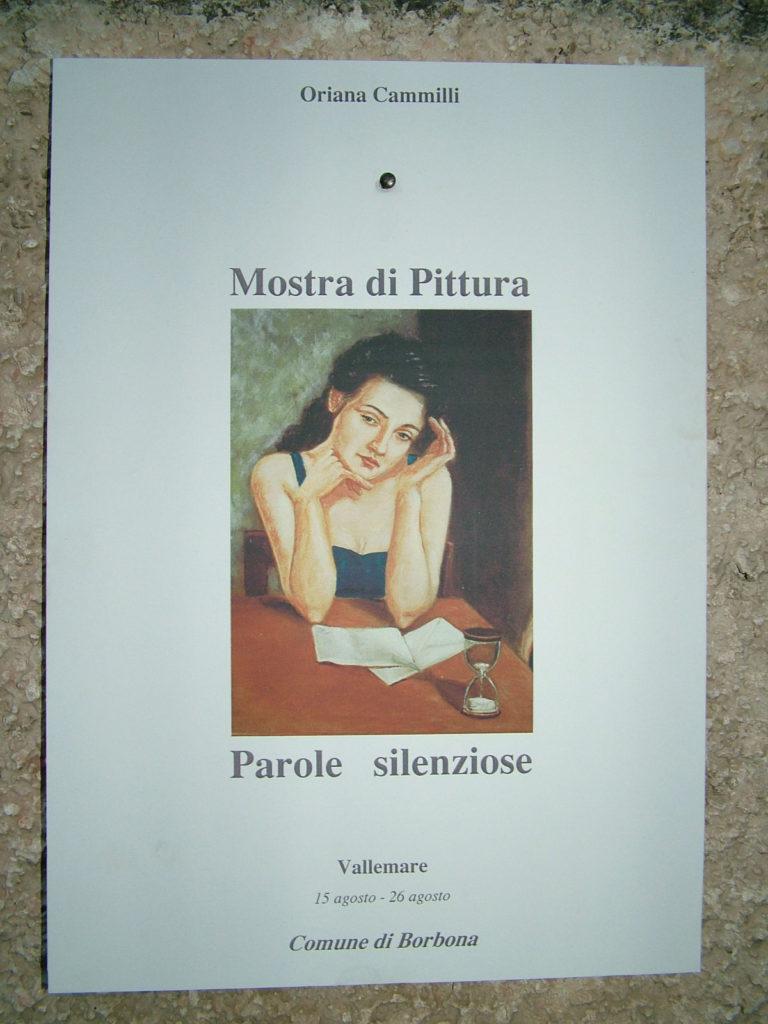 locandina della Mostra di Oriana Cammilli a Vallemare nell'agosto 2006